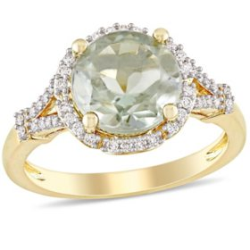 2.8 CT. T.G.W. Prasiolite Quartz and 0.2 CT. T.W. Diamond Halo Ring in 14k Yellow Gold