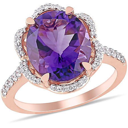 Allura Amethyst and 0.45 CT. T.W. Diamond Floral Halo Engagement Ring in 14K Rose Gold