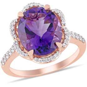 4 CT. T.G.W. Amethyst and 0.5 CT. T.W. Diamond Floral Halo Engagement Ring in 14k Rose Gold