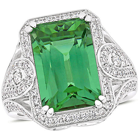Allura 9 CT. T.G.W. Natural Apatite and 0.8 CT. T.W. Diamond Vintage Cocktail Ring in 14k White Gold