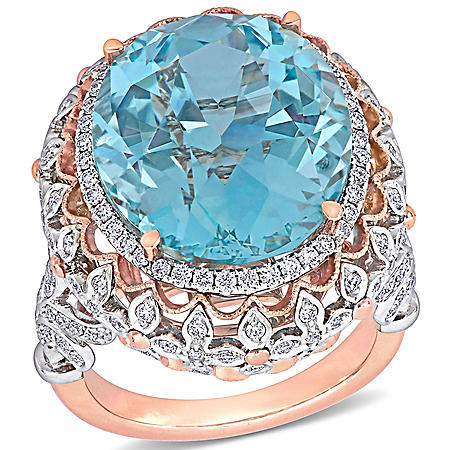 Allura 20.8 CT. T.G.W. Natural Untreated Blue Topaz and 1.3 CT. T.W. Diamond Vintage Cocktail Ring in 14k Two-Tone Gold