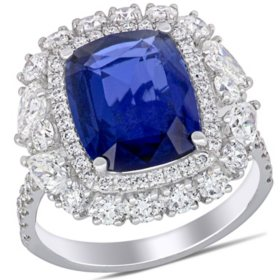 Allura 6.13 CT. T.G.W. Blue Sapphire and 2.07 CT. T.W. Pear and Round-Cut Diamond Double Halo Ring in 14k White Gold