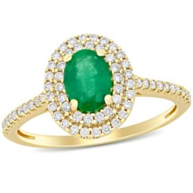 0.75 CT. T.G.W. Emerald and 0.33 CT. T.W. Diamond Double Halo Ring in 14k Yellow Gold