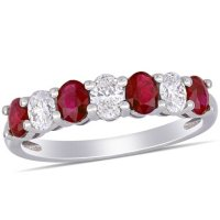 Ruby and 0.45 CT. T.W. Oval Diamond Semi-Eternity Ring in 14K White Gold