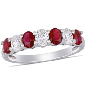 0.8 CT. T.G.W. Ruby and 0.54 CT. T.W. Oval Diamond Semi-Eternity Ring in 14k White Gold