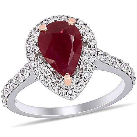Allura 2.25 CT. T.G.W. Ruby and 0.68 CT. T.W. Diamond Halo Teardrop Ring in 14k Two-Tone Gold