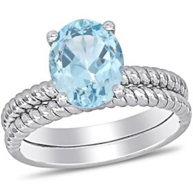 2.1 CT. T.G.W. Aquamarine Double Row Braided Cocktail Ring in 14k White Gold