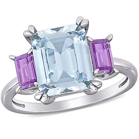 3.4 CT. T.G.W. Aquamarine and Rose de France 3-Stone Ring in Sterling Silver