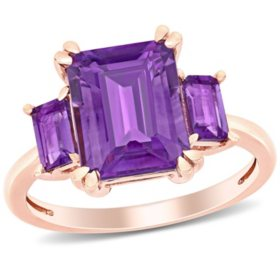 3.8 CT. T.G.W. Amethyst 3-Stone Ring in 14k Rose Gold
