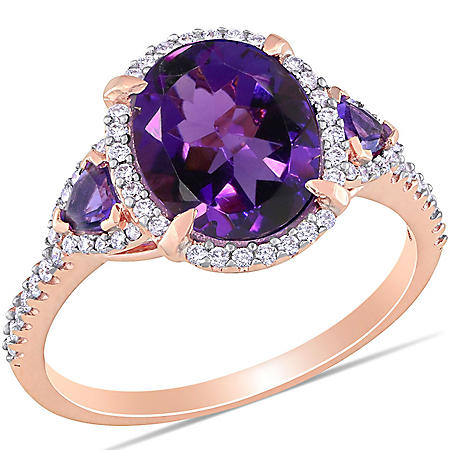 2.63 CT. T.G.W. Amethyst and 0.25 CT. T.W. Diamond Halo Ring in 14k Rose Gold