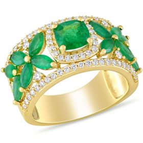 Allura Emerald and 0.45 CT. T.W. Diamond Floral Ring in 14K Yellow Gold