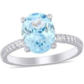 2.1 CT. T.G.W. Aquamarine Promise Ring in 14k White Gold
