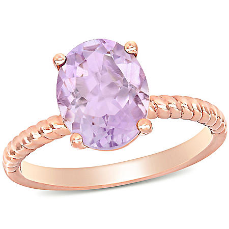 2.37 CT. T.G.W. Rose de France Promise Ring in 14K Rose Gold
