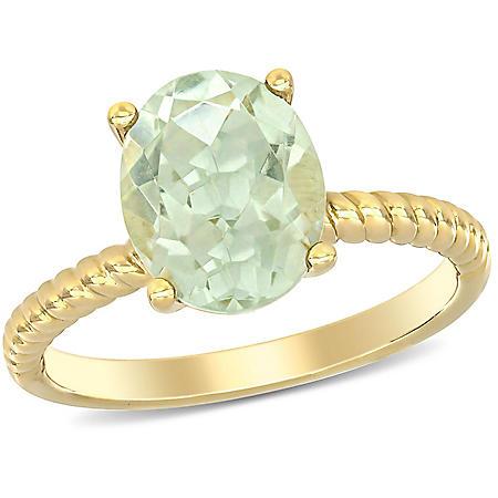 2.32 CT. T.G.W. Prasiolite Quartz Promise Ring in 14k Yellow Gold