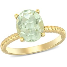 2.32 CT. T.G.W. Prasiolite Quartz Promise Ring in 14k Yellow Gold