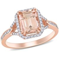 Morganite and 0.17 CT. T.W. Diamond Halo Ring in 14K Rose Gold