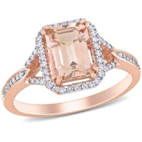 1.37 CT. T.G.W. Morganite and 0.2 CT. T.W. Diamond Halo Ring in 14k Rose Gold