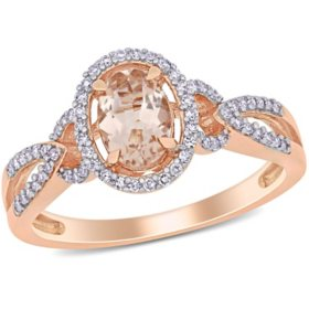 Morganite and 0.17 CT. T.W. Diamond Halo Engagement Ring in 14K Rose Gold