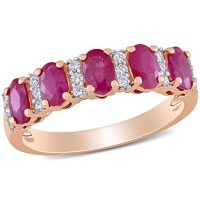 Ruby and 0.13 CT. T.W. Diamond 5-Stone Wedding Ring in 14K Rose Gold