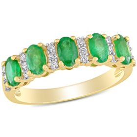 1.1 CT. T.G.W. Emerald and 0.16 CT T.W. Diamond 5-Stone Wedding Ring in 14k Yellow Gold
