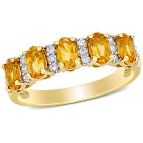 1.16 CT. T.G.W. Citrine and 0.16 CT T.W. Diamond 5-Stone Wedding Ring in 14k Yellow Gold