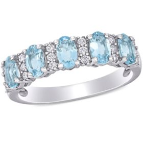 1.25 CT. T.G.W. Aquamarine and 0.16 CT T.W. Diamond 5-Stone Wedding Ring in 14k White Gold