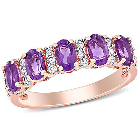 1.16 CT. T.G.W. Amethyst and 0.16 CT T.W. Diamond 5-Stone Wedding Ring in 14k Rose Gold