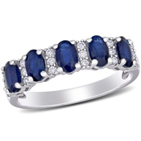 1.5 CT. T.G.W. Blue Sapphire and 0.16 CT T.W. Diamond 5-Stone Wedding Ring in 14k White Gold