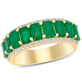 Allura 2.43 CT T.G.W. Emerald and 0.28 CT T.W. Diamond 9-Stone Wedding Ring in 14k Yellow Gold