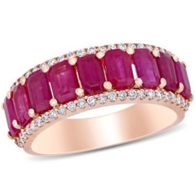 Allura 3.28 CT T.G.W. Ruby and 0.28 CT T.W. Diamond 9-Stone Wedding Ring in 14k Rose Gold