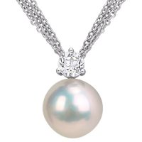 11-12 mm White Round Cultured Freshwater Pearl and White Topaz Drop Pendant in Sterling Silver