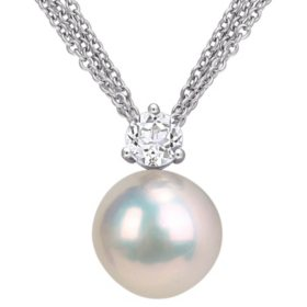 11-12 mm White Round Cultured Freshwater Pearl and 0.59 CT. T.G.W. White Topaz Drop Pendant in Sterling Silver