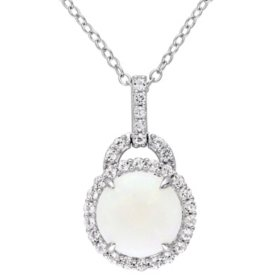 2.16 CT. T.G.W. Opal and White Topaz Halo Pendant in Sterling Silver
