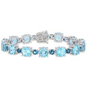 37.1 CT T.G.W. Sky and London Blue Topaz Tennis Bracelet in Sterling Silver