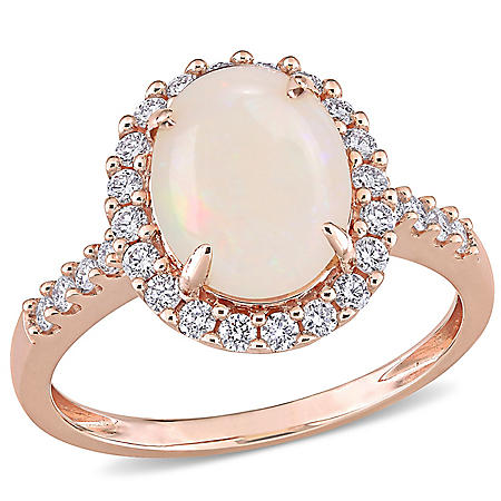 1.66 CT. T.G.W. Opal and 0.42 CT. T.W. Diamond Halo Engagement Ring in 14k Rose Gold