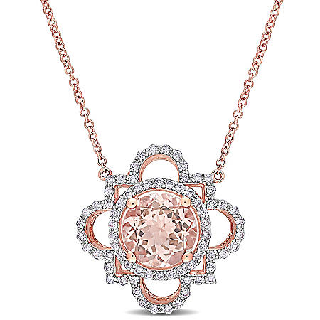 2.5 CT. T.G.W. Morganite and 0.5 CT. T.W. Diamond Quatrefoil Pendant in 14k Rose Gold