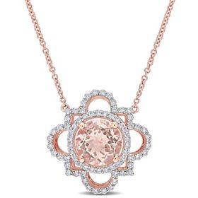2.5 CT. T.G.W. Morganite and 0.5 CT. T.W. Diamond Quatrefoil Pendant in 14k Rose Gold