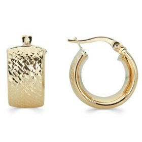 14K Gold Diamond-Cut Huggie Hoop Earrings, 9mm X 10mm