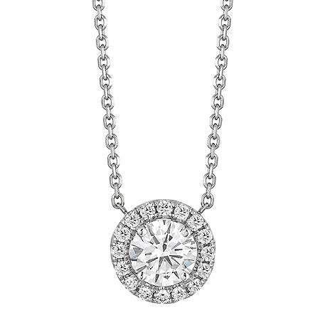 Superior Quality Collection 0.50 CT. T.W. Round Diamond Pendant in 18K White Gold (I, VS2)