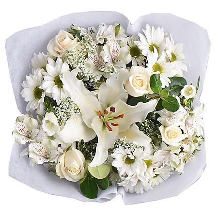 White Monochromatic Mixed Bouquets (6 ct.)