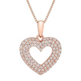 0.25 CT. T.W. Heart Pendant in 14k Rose Gold