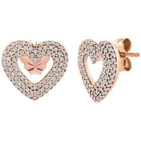 0.33 CT. T.W. Diamond Heart Earrings in 14k Rose Gold