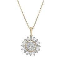 0.33 CT. T.W. Diamond Flower Pendant in 14k Yellow Gold