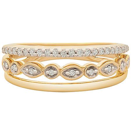 0.15 CT. T.W. Diamond 3 Row Ring in 14k Yellow Gold