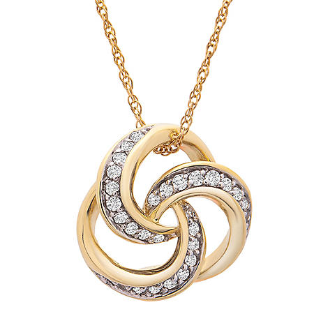 0.25 CT. T.W. Love Knot Pendant and Earrings Set in 14k Yellow Gold