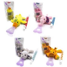 NISSI & JIREH 5-in-1 Detachable Universal Pacifier Holder Teether Bundle