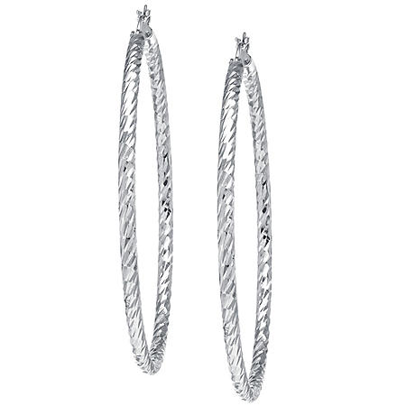 Sterling Silver 65mm Diamond Cut Hoop Earrings