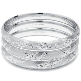 Sterling Silver Diamond Cut 3 Piece Bangle Set