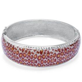 Sterling Silver Leopard Pattern Enamel Bangle