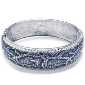 Sterling Silver Snakeskin Pattern Enamel Bangle